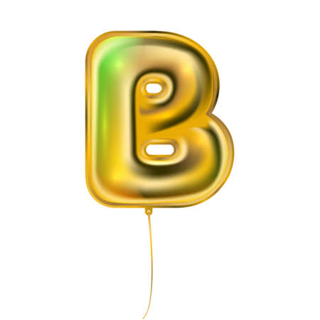Gold foil inflated alphabet symbol, isolated letter B
