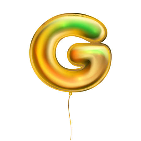 Gold foil inflated alphabet symbol, isolated letter G 向量圖像