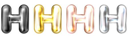 Golden foil inflated alphabet symbol, isolated letter H Stock Illustratie