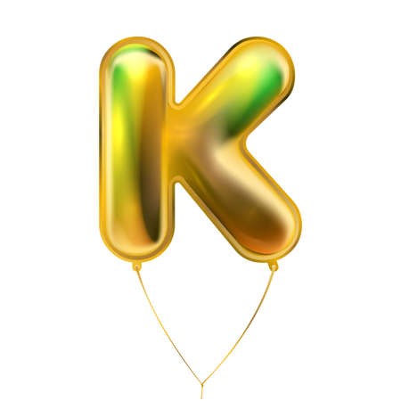Gold foil inflated alphabet symbol, isolated letter K
