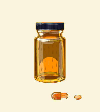 Medical brown glass wide vial and pills, hand drawn sketch art