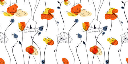 Sunset poppies field seamless pattern in the scandinavian style 矢量图像