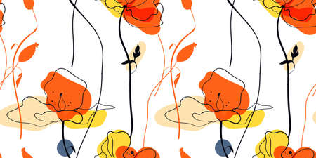 Yellow poppies field seamless pattern in the scandinavian style 矢量图像
