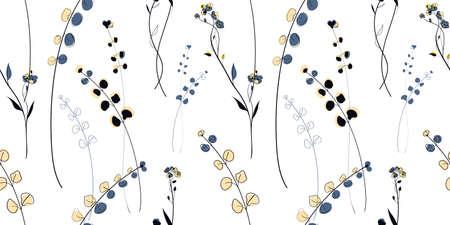Wild Meadow plants seamless pattern in the scandinavian style