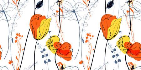 Meadow poppy flowers in the scandinavian style