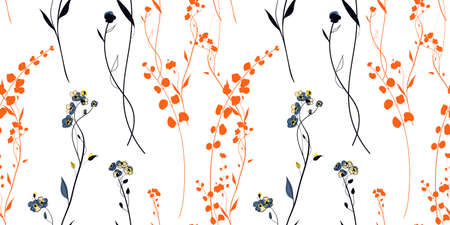 Sunset Meadow Plants seamless pattern in the scandinavian style Vettoriali