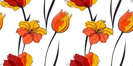 Yellow tulip field seamless pattern in the scandinavian style
