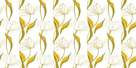 Tulip line art seamless pattern in the scandinavian style Vettoriali