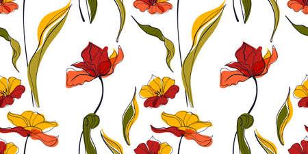 Sunset tulip meadow seamless pattern in the scandinavian style