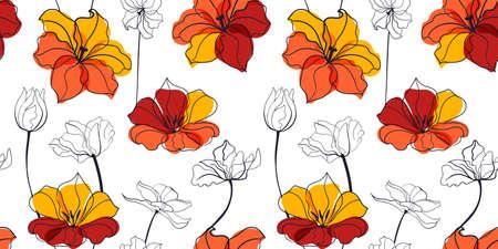 Tulip flowers seamless pattern in the scandinavian style Vettoriali