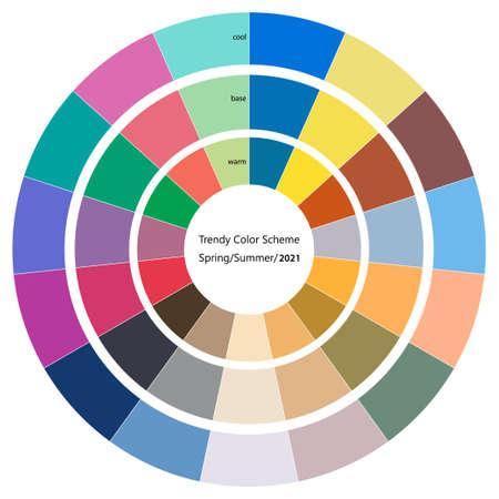 Trendy color wheel scheme for spring and summer season of 2021 Vector Illustratie
