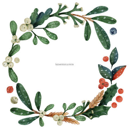 Christmas green plants and mistletoe wreath, traced watercolor card