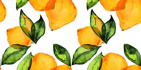 Lemon garden, fresh lemon fruits and leaves. Seamless pattern with traced watercolor.