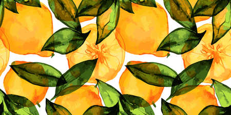 Lemons seamless pattern with traced watercolor