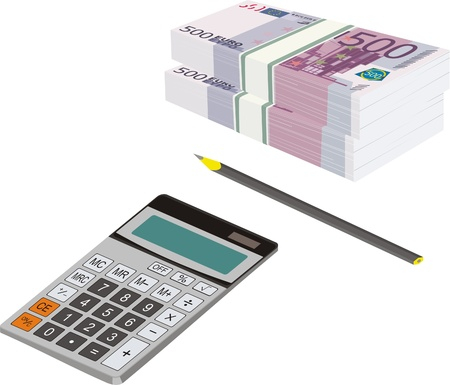 packets of money in Euros, a pencil and a calculator - the tools of financier