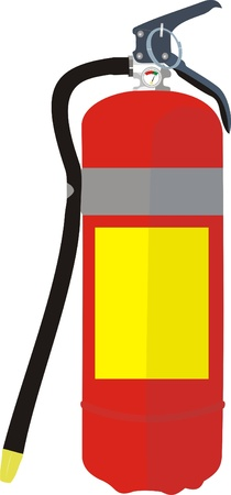 Vector image of a fire extinguisher with a hose and a pressure sensor