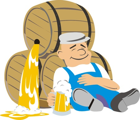 A man rests on a barrel of beer