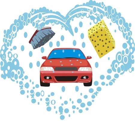 Brush, water and sponge like every car they wash Stock Vector - 9633411