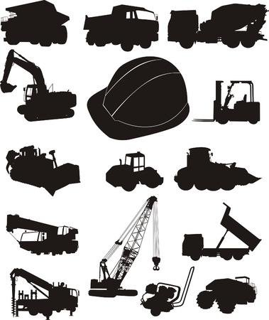 Zestaw silhouettes maszyny budowlane i ładunków