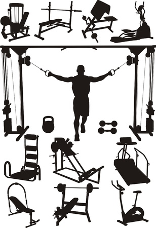 apparatus: Perfectly executed image of silhouettes of sports training apparatus