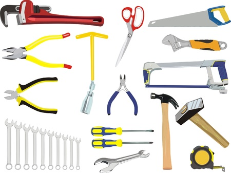 A set of hand tools Vector