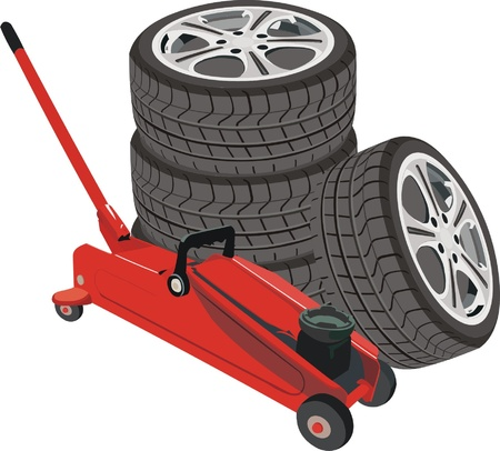 hydraulic jack with wheels Illustration
