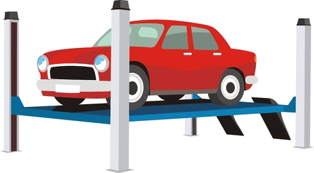 electric vehicle: Car on a lift