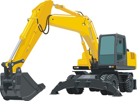bulldozer: Excavator Illustration