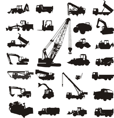 excavator: construction equipment Illustration