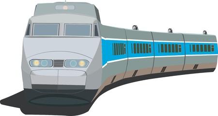 railway track: Snel passagierstrein Stock Illustratie