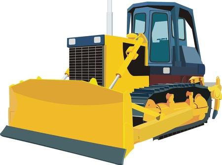 yellow tractor: Excavadora