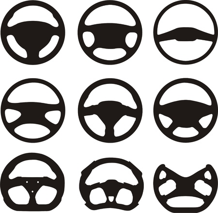 car wheels: Silhouettes of steering wheels Illustration
