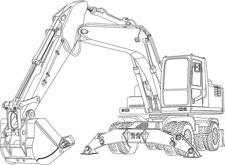 industrial vehicle: excavator Stock Photo