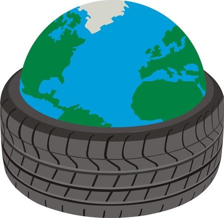 Planet of wheels Illustration