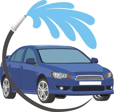 shiny car: wasstraat Stock Illustratie