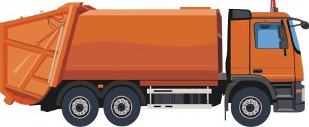 camion de basura: Camión de la basura urbana Vectores