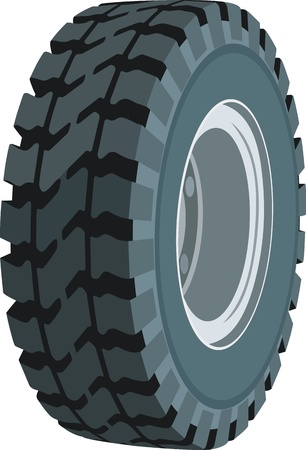 Wheel for trucks and vehicles, working in quarries Illustration