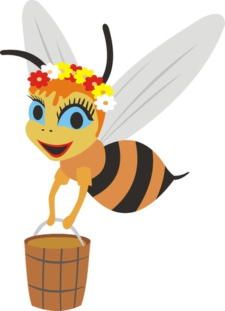 bumble: bee with a bucket of honey Illustration