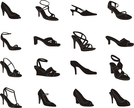 outline women: set of silhouettes of women s shoes