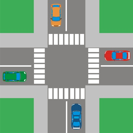 open road: Intersection Illustration