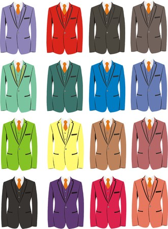 Set of costumes of different colors Illustration