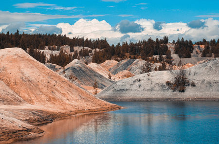 sand quarry: Landscape.Clay quarry for the extraction of clay. mountain of clay, cinder, coal Stock Photo