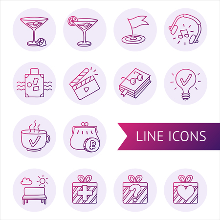 Vector Lined Icons By Hand Symbol Of Recreation Entertainment