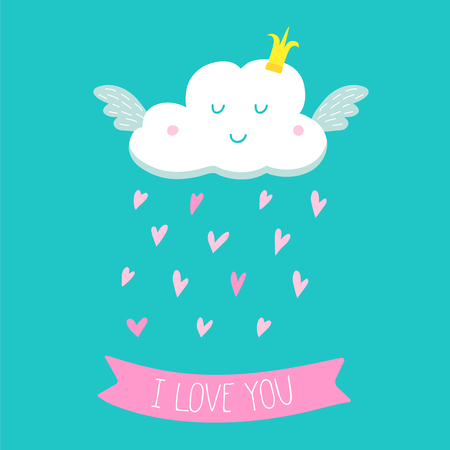 Greeting card with a cute cloud of love. Vector cartoon illustration with hand drawn lettering for wedding, birthday and other design.