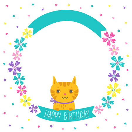 Greeting card with flower wreath and cute cat.Vector illustration on white background for wedding, birthday and other design. Hand drawn lettering HAPPY BIRTHDAY Çizim