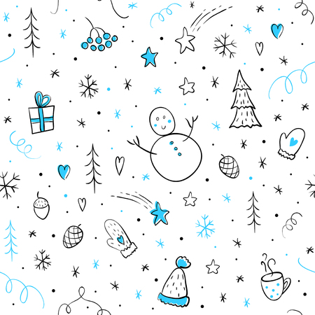 Winter seamless pattern with christmas elements. Hand-drawn vector illustration for printed, wrapping paper, wallpaper, textile, fabric, etc