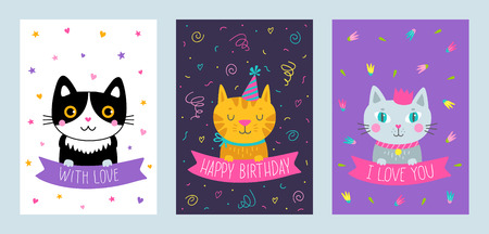 Vector set of cute greeting cards with cat handdrawn illustrations vector vector set of cute greeting cards with cat handdrawn illustrations for print cards poster banner and other design m4hsunfo