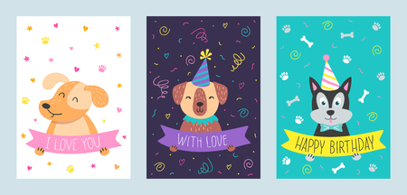 vector vector set of cute greeting cards with dog handdrawn illustrations for print cards poster banner and other design - Dog Greeting Cards