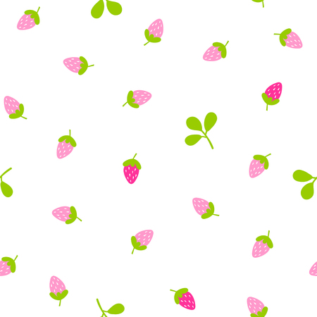 Simple seamless pattern with hand drawn strawberry on white background. Vector illustration for textile, paper, design, prints, decor, art, fabric.