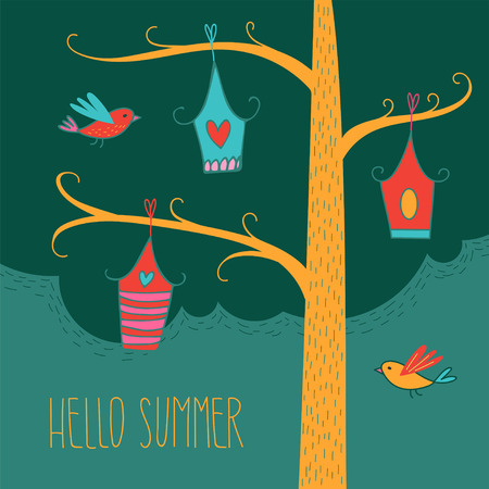 Simple greeting card with hand drawn birds and birdhouses. Vector illustration for textile, paper, design, prints, decor and art. Hand drawn lettering HELLO SUMMER
